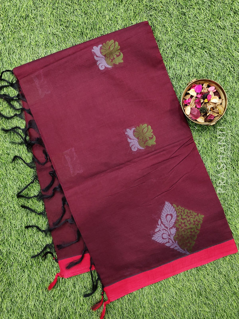 Handloom Cotton Saree maroon with thread woven buttas and simple border