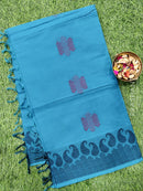 Handloom Cotton Saree blue with thread woven buttas and simple border