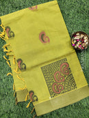 Handloom Cotton Saree dual shade of green and yellow with thread woven buttas and simple border
