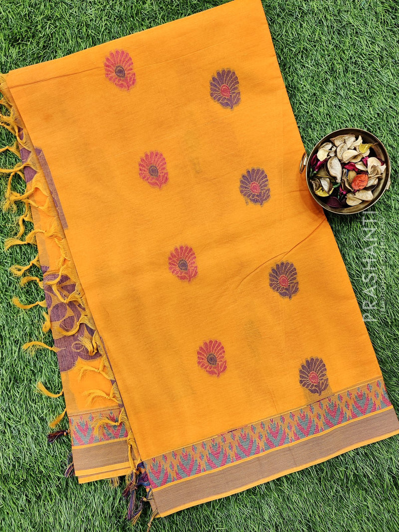 Handloom Cotton Saree orange with thread woven buttas and simple border