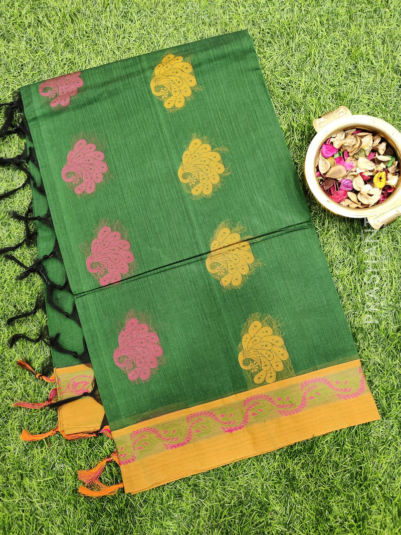 Handloom Cotton Saree green and mustard with thread woven buttas and simple border