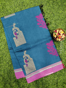 Handloom Cotton Saree blue and pink with thread woven buttas and simple border