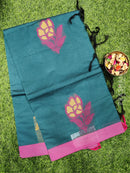 Handloom Cotton Saree peacock green and pink with thread woven buttas and simple border