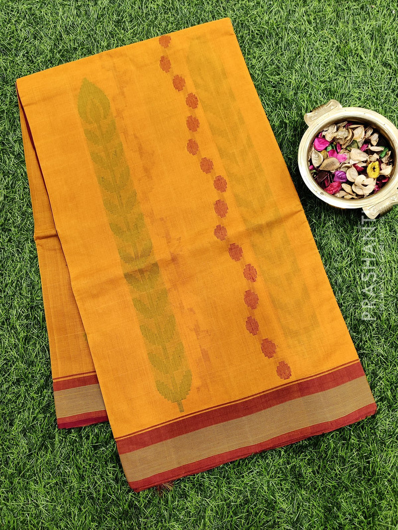 Handloom Cotton Saree mustard and maroon with thread woven buttas and simple border