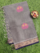 Handloom Cotton Saree grey and navy blue with thread woven buttas and simple border