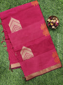 Handloom Cotton Saree pink shade with thread woven buttas and simple border