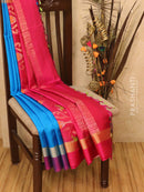 Soft silk saree cs blue and pink with zari woven buttas and simple zari border