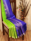 Soft silk saree green and blue with small zari buttas and woven zari border