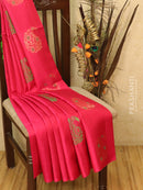 Soft silk saree pink and green with thread buttas and rich pallu in borderless style
