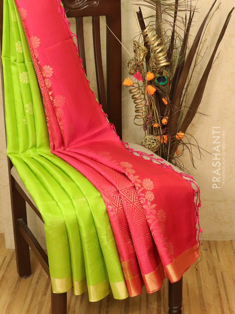 Soft silk saree green and pink with small zari buttas and border