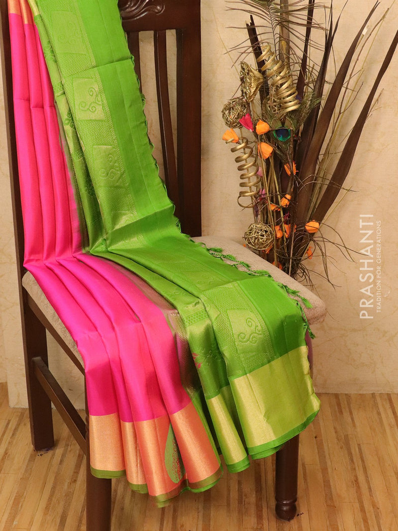 Soft silk saree pink and green with zari buttas and border