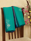 Soft silk saree turquoise blue and violet with zari woven buttas in borderless style