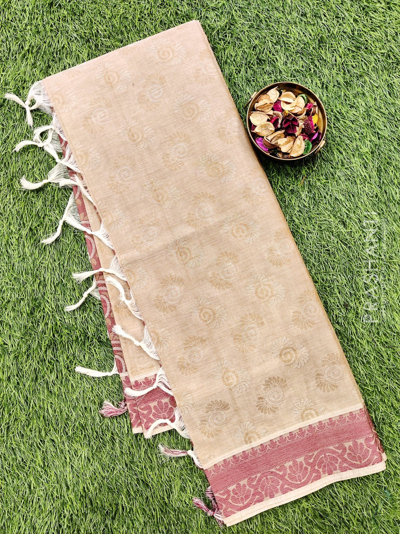 Coimbatore Cotton Saree beige and red with allover thread emboss and woven border