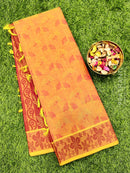 Coimbatore Cotton Saree dual shade of pink and maroon with allover thread emboss and woven border