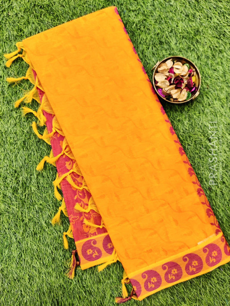 Coimbatore Cotton Saree orange and magenta with allover thread emboss and woven border