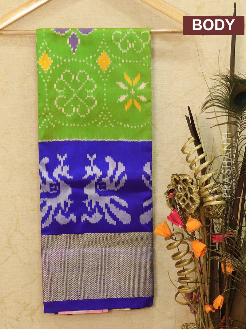 Pure ikat silk kids lehanga light green and blue with ikat weaves and zari border for free size