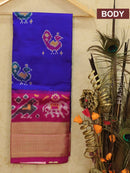 Pure ikat silk kids lehanga blue and dark pink with ikat weaves and zari border for free size