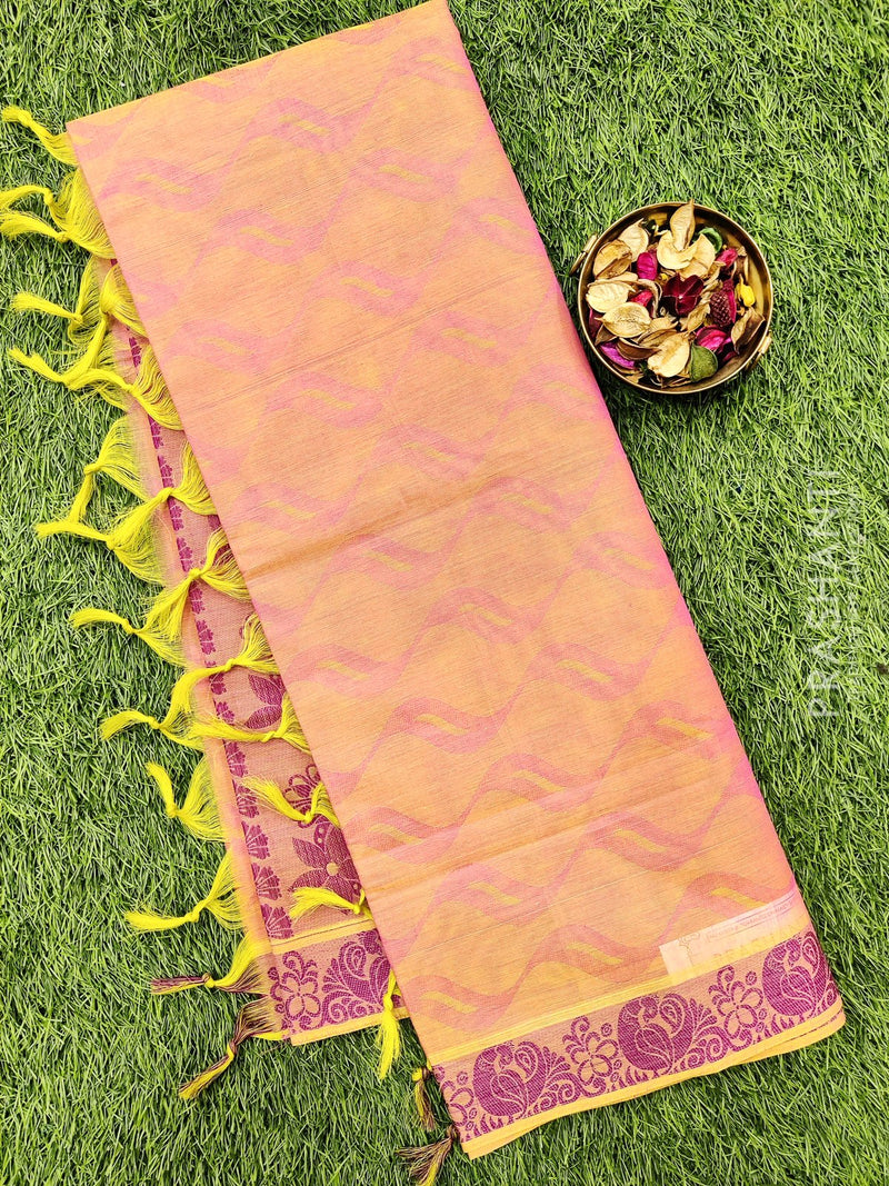 Coimbatore Cotton Saree dual shade of pink and magenta pink with allover thread emboss and woven border
