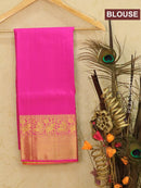 Pure Kanjivaram kids lehanga lime green and pink with allover small zari buttas and rich woven border for 6 to 10 years