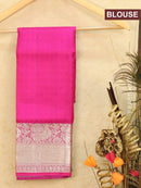 Pure Kanjivaram kids lehanga elephant grey and pink with allover self emboss and buttas with rich woven border for 3 to 5 years