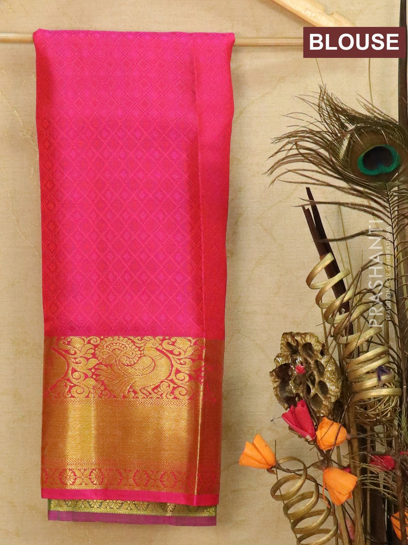 Pure Kanjivaram kids lehanga green and dual shade of pink with allover self emboss and buttas with rich woven border for 3 to 5 years