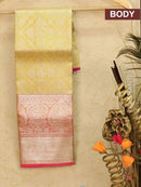 Pure Kanjivaram kids lehanga pastal yellow and pink with allover zari weaves and rich woven border for 3 to 5 years