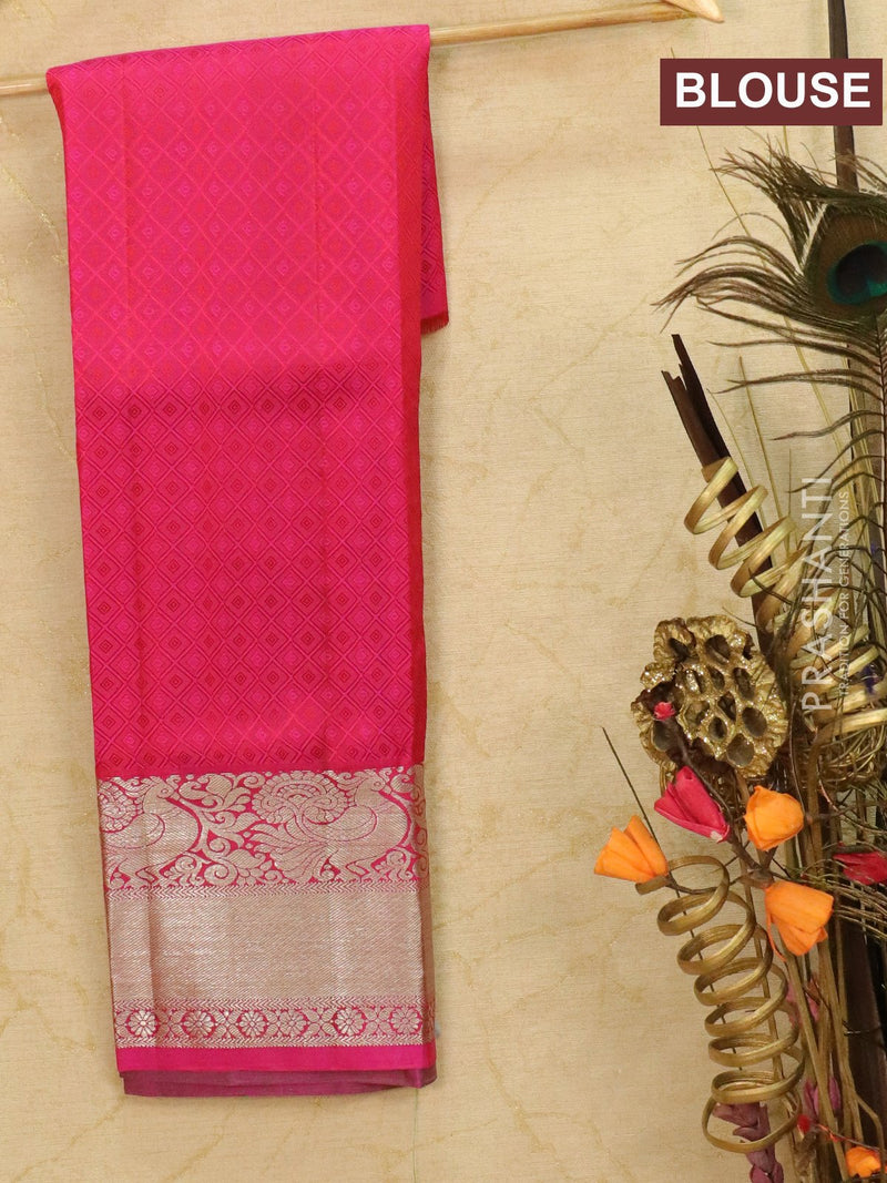 Pure Kanjivaram kids lehanga light green and pink with allover self emboss and buttas with rich woven border for 3 to 5 years