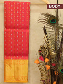 Pure Kanjivaram kids lehanga dual shade of pink and yellow orange with allover self emboss and buttas with rich woven border for 3 to 5 years