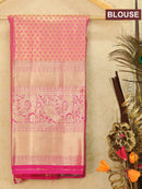 Pure Kanjivaram kids lehanga pastal green and pink with allover floral zari weaves and rich woven border for 6 to 10 years for Rs.Rs. 8690.00 | Kid's Paavadai Sattai by Prashanti Sarees