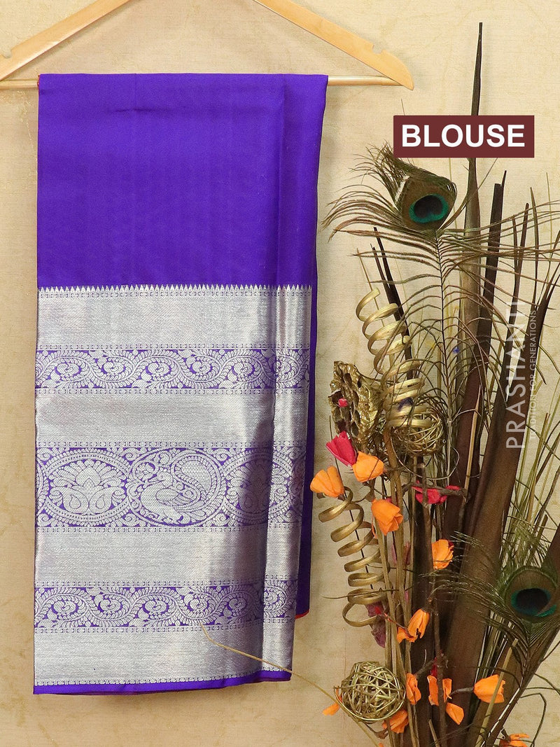 Pure Kanjivaram lehanga red and violet with allover zari buttas and rich zari woven border with duppata - free size