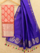 Pure Kanjivaram lehanga dual shade of pink and violet with allover zari buttas and rich zari woven border with duppata - free size