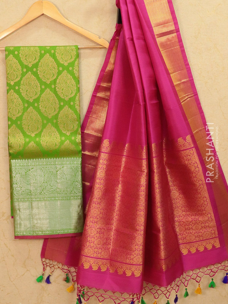 Pure Kanjivaram lehanga light green and pink with allover zari buttas and rich zari woven border with duppata - free size