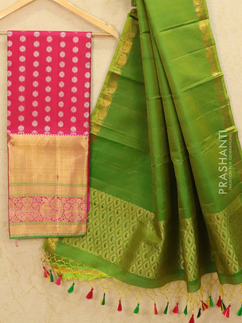 Pure Kanjivaram lehanga pink and green with allover zari buttas and rich zari woven border with duppata - free size