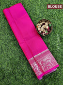 Pure Kanjivaram kids lehanga green and pink with allover zari weaves and rich border for 0 to 2 years