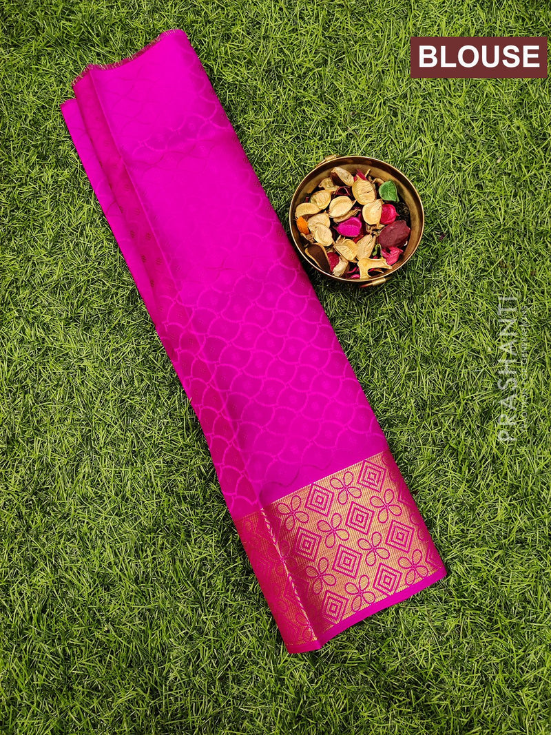 Pure Kanjivaram kids lehanga pastal blue and pink with allover self emboss and buttas with woven border for 0 to 2 years