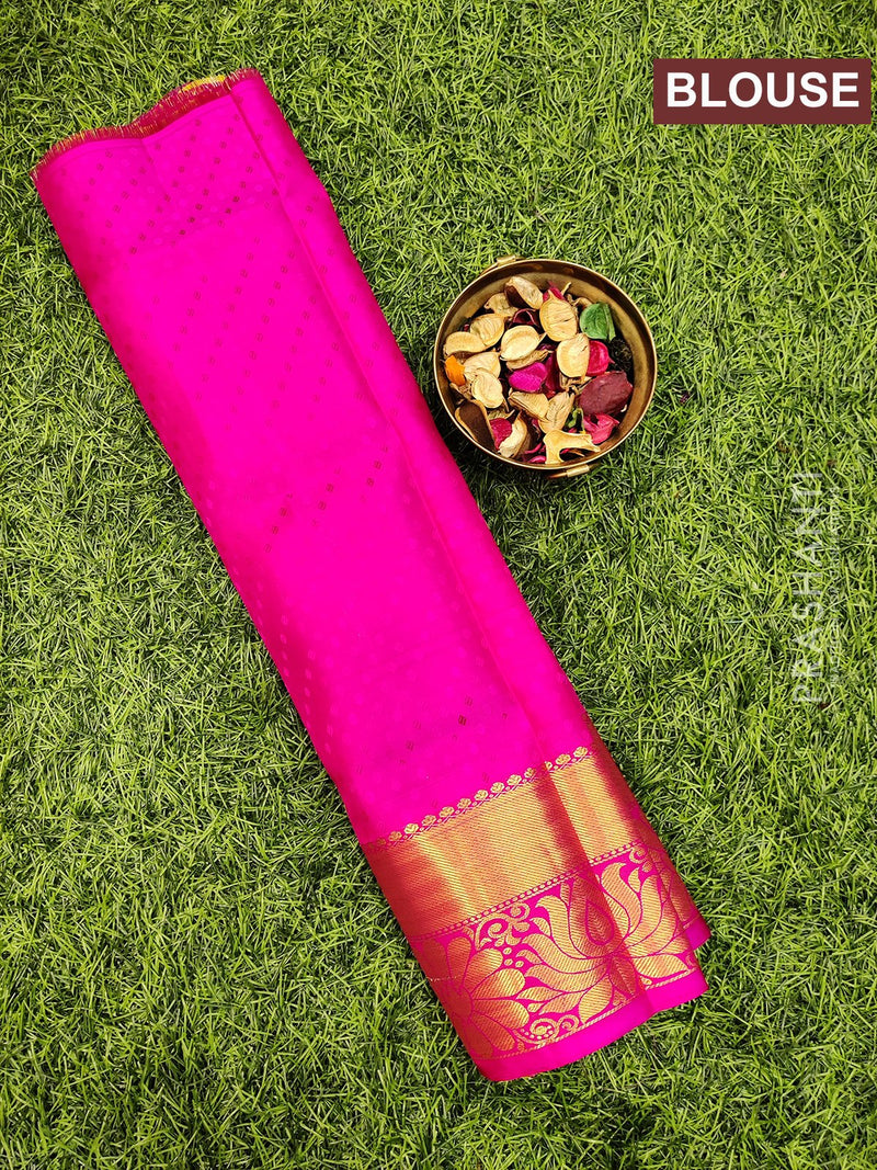 Pure Kanjivaram kids lehanga lime green and pink with allover self emboss and buttas with woven border for 0 to 2 years