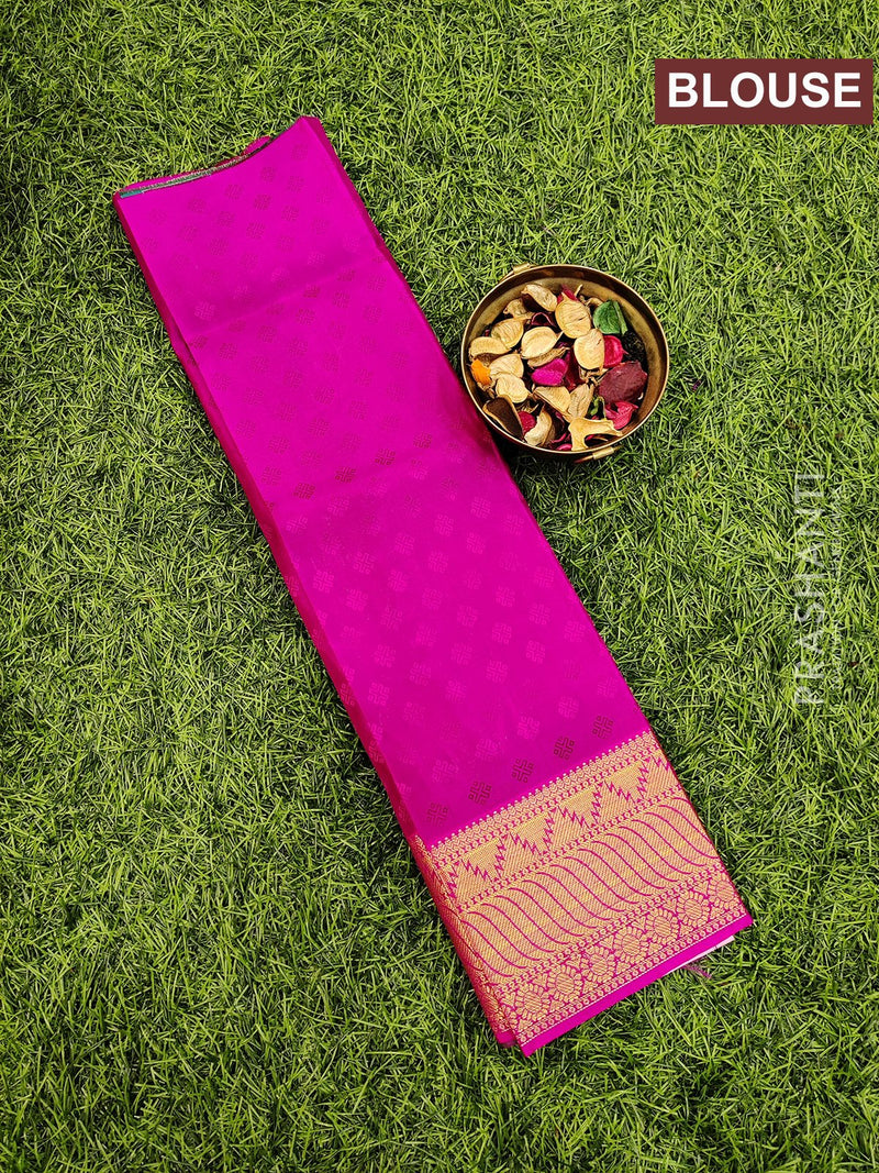 Pure Kanjivaram kids lehanga peacock green and pink with allover self emboss and buttas with woven border for 0 to 2 years
