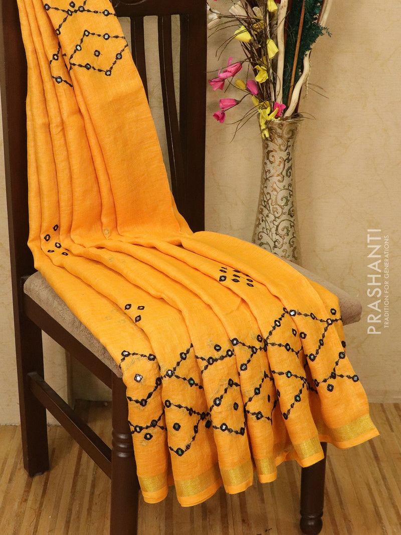 Pure linen saree yellow with mirror work and simple border