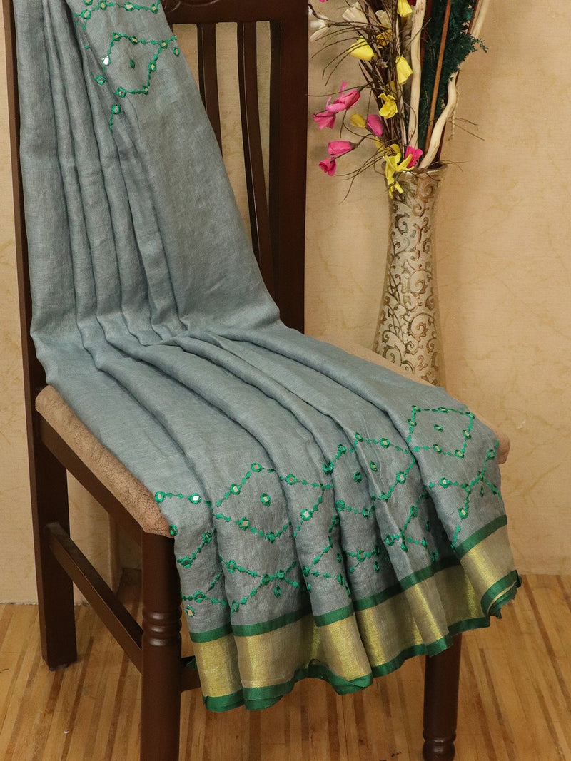 Pure linen saree grey with mirror work and simple border