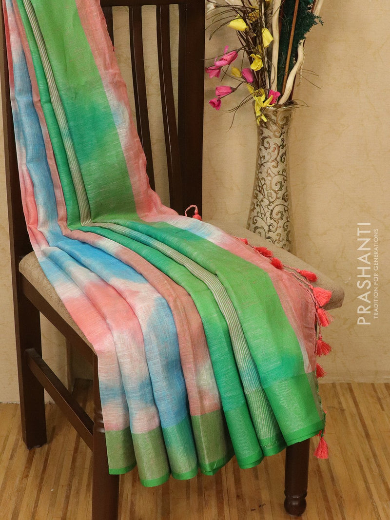 Pure linen saree pink and green with batik prints and simple border
