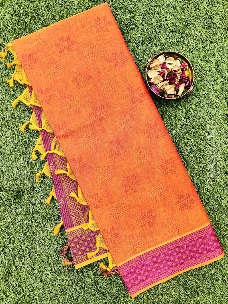 Coimbatore Cotton Saree dual shade of pink and purple with allover thread emboss and woven border
