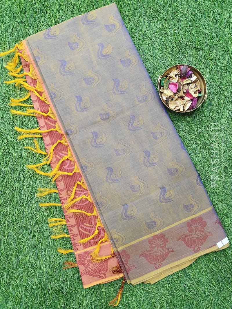 Coimbatore Cotton Saree dual shade of blue and maroon with allover thread emboss and woven border