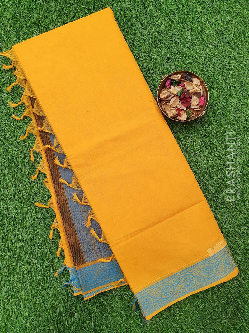 Coimbatore Cotton Saree yellow and blue with allover thread emboss and woven border