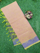 Coimbatore Cotton Saree dual shade of green and violet with allover thread emboss and woven border