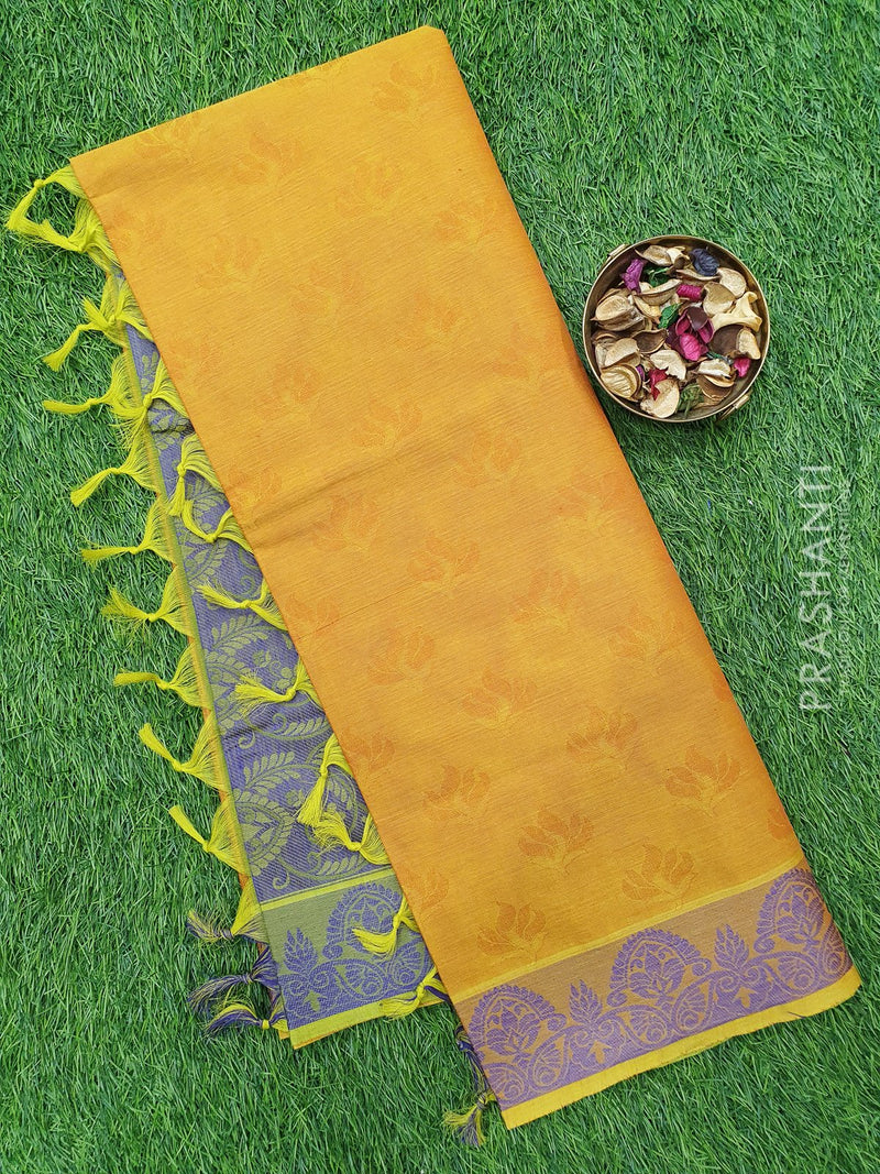 Coimbatore Cotton Saree yellow and violet with allover thread emboss and woven border