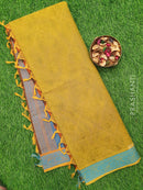 Coimbatore Cotton Saree green and blue with allover thread emboss and woven border