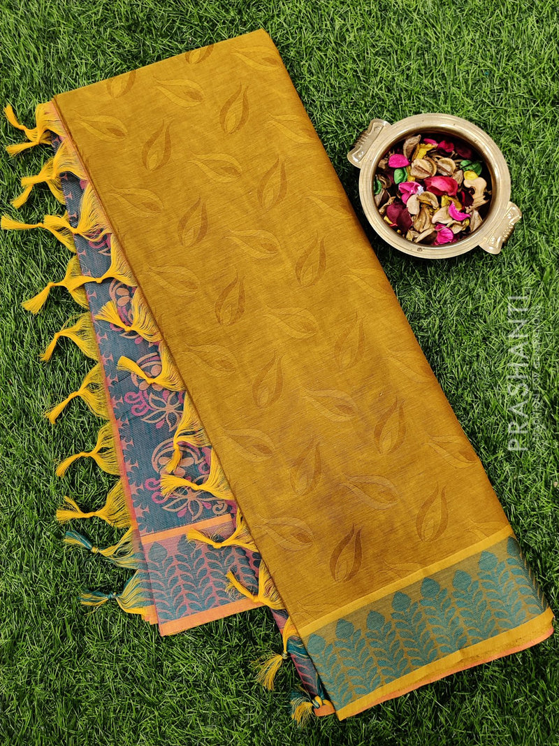 Coimbatore Cotton Saree khaki green and blue with allover thread emboss and woven border