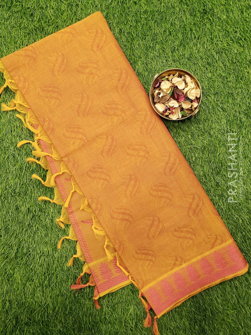 Coimbatore Cotton Saree dual shade of maroon and pink with allover thread emboss and woven border