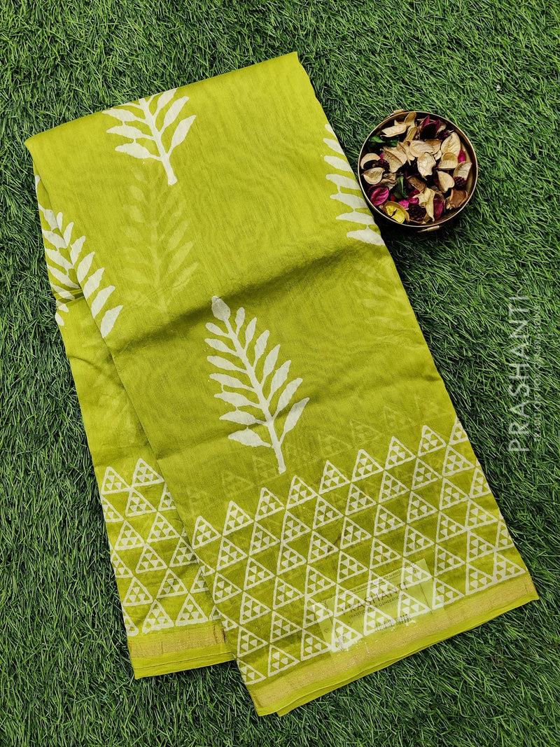 Chanderi bagru printed saree green and navy blue with printed border and bidy buttas