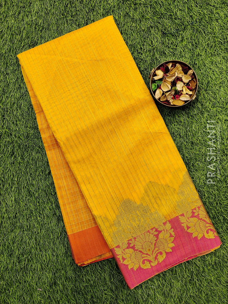 Manipuri Kota saree yellow and pink with checked zari pattern and border